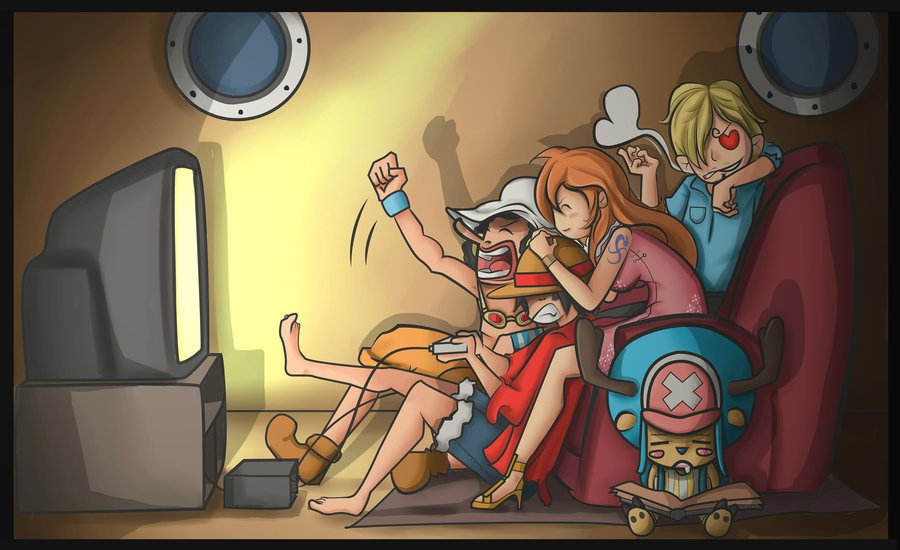 One Piece Wallpaper Straw Hat Playing games Usopp Luffy Nami Sanji 900x550