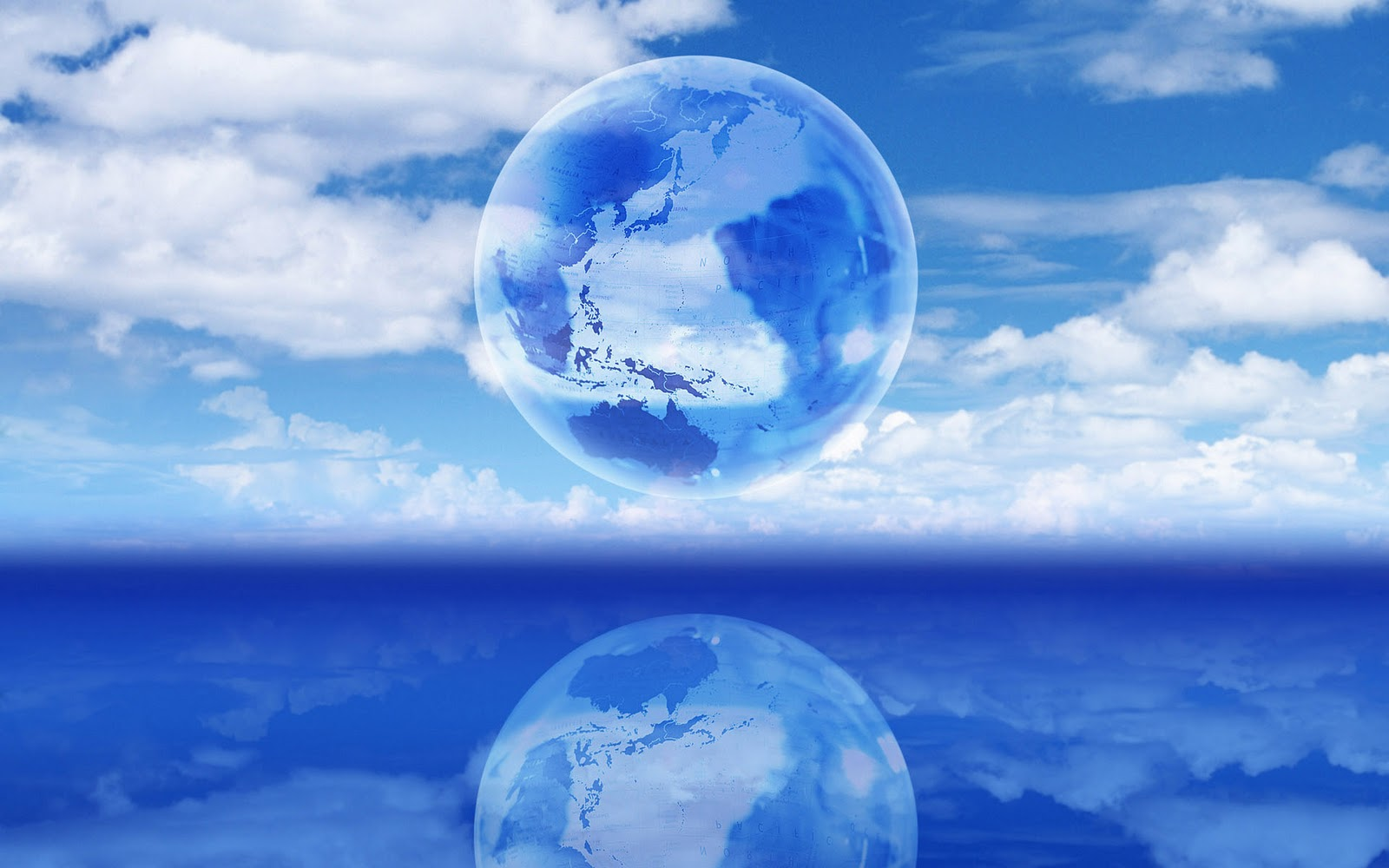Blauwe desktop wallpaper met wereldbol in de wolken 1600x1000