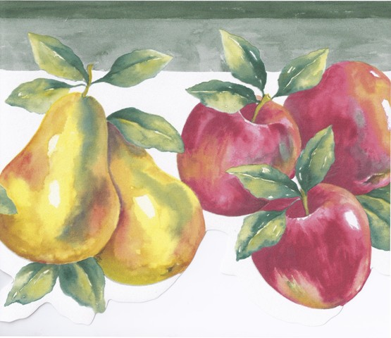 Green White Pears Apples Wallpaper Border   Kitchen Bathroom 555x480