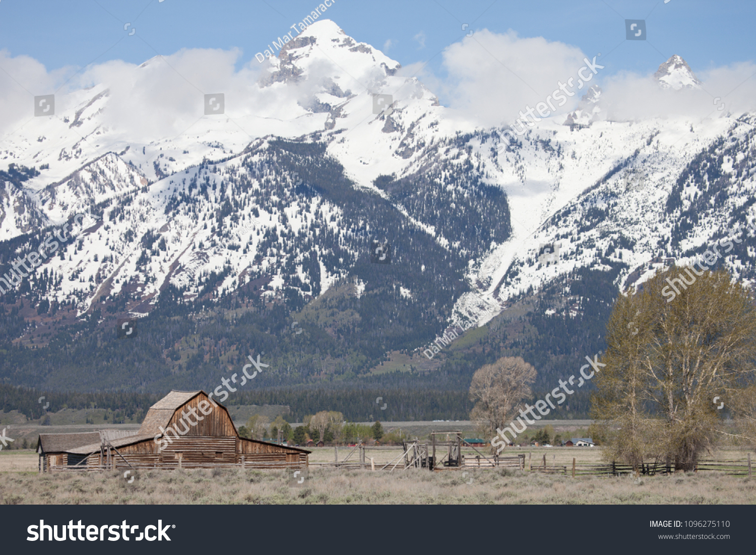 Grand Tetons Background Brown Barn This Stock Photo Edit Now 1500x1101