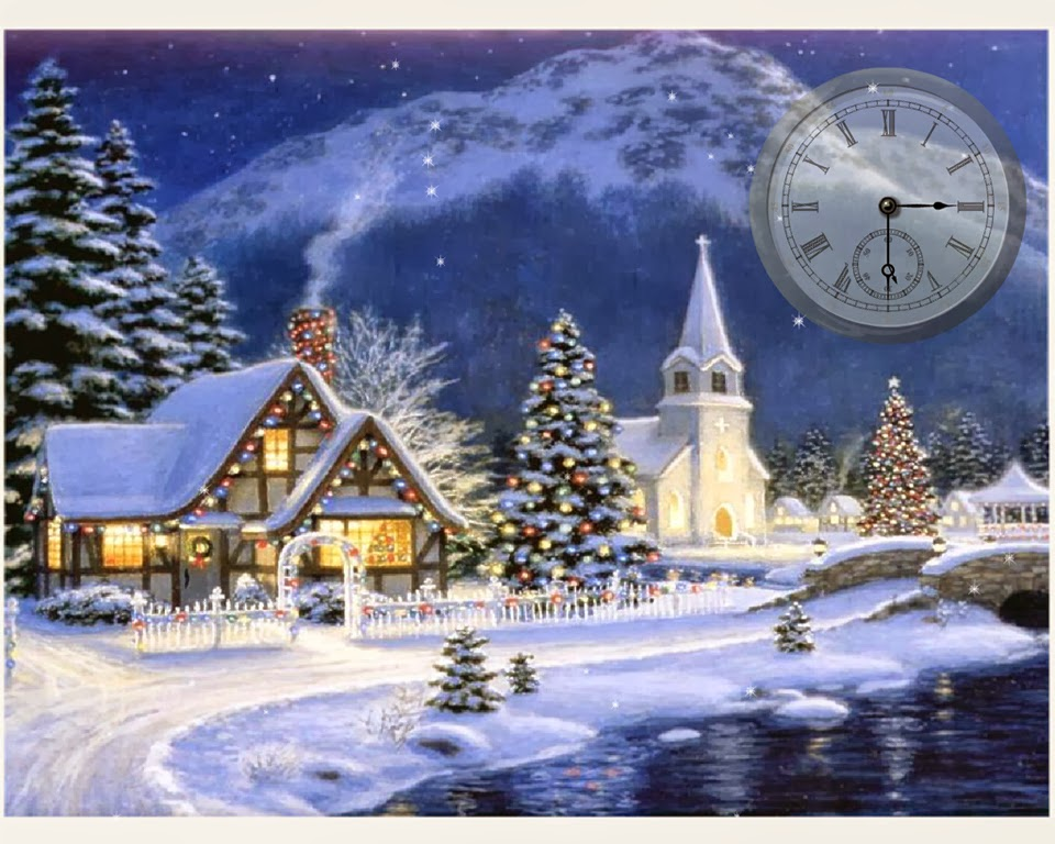 snowy village wallpaper