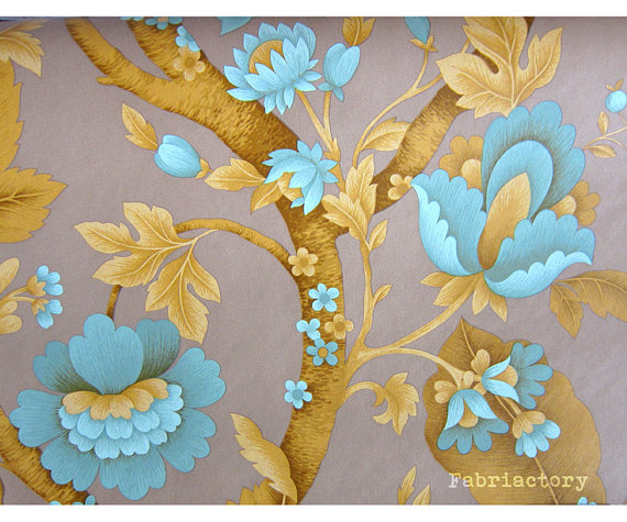Chrome yellow Art Nouveau style vintage floral wallpaper 1yard 570x475
