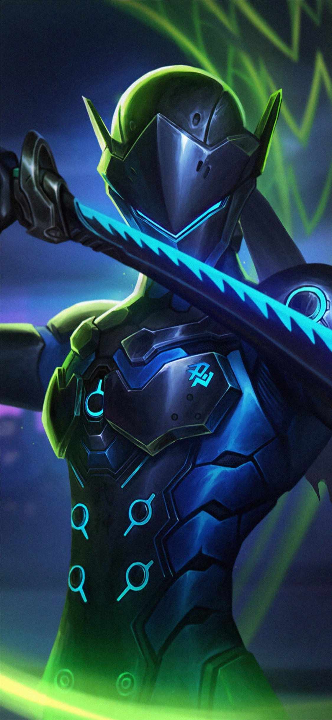 download the genji overwatch art 4k wallpaper beaty your 1125x2436