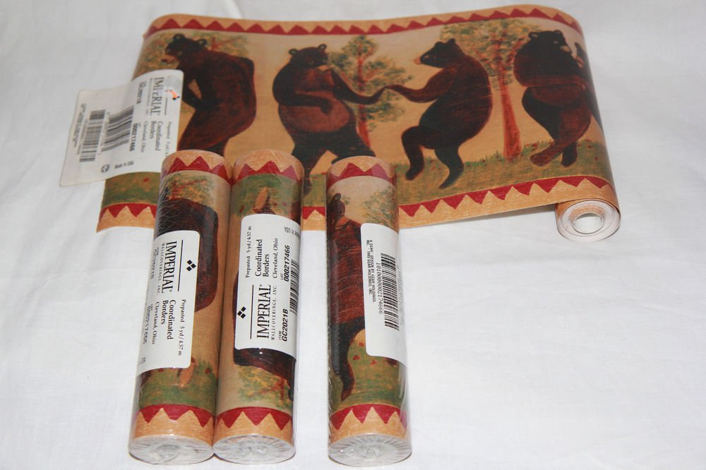 Lot Prepasted Wallpaper Border Dancing Bears Folk Rustic 4 Rolls 1000x666