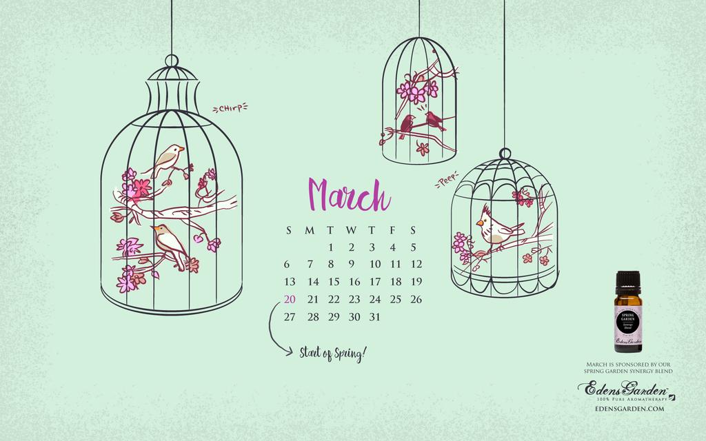 Freebie March 2016 Desktop Wallpaper Calendar Edens Garden 1024x640