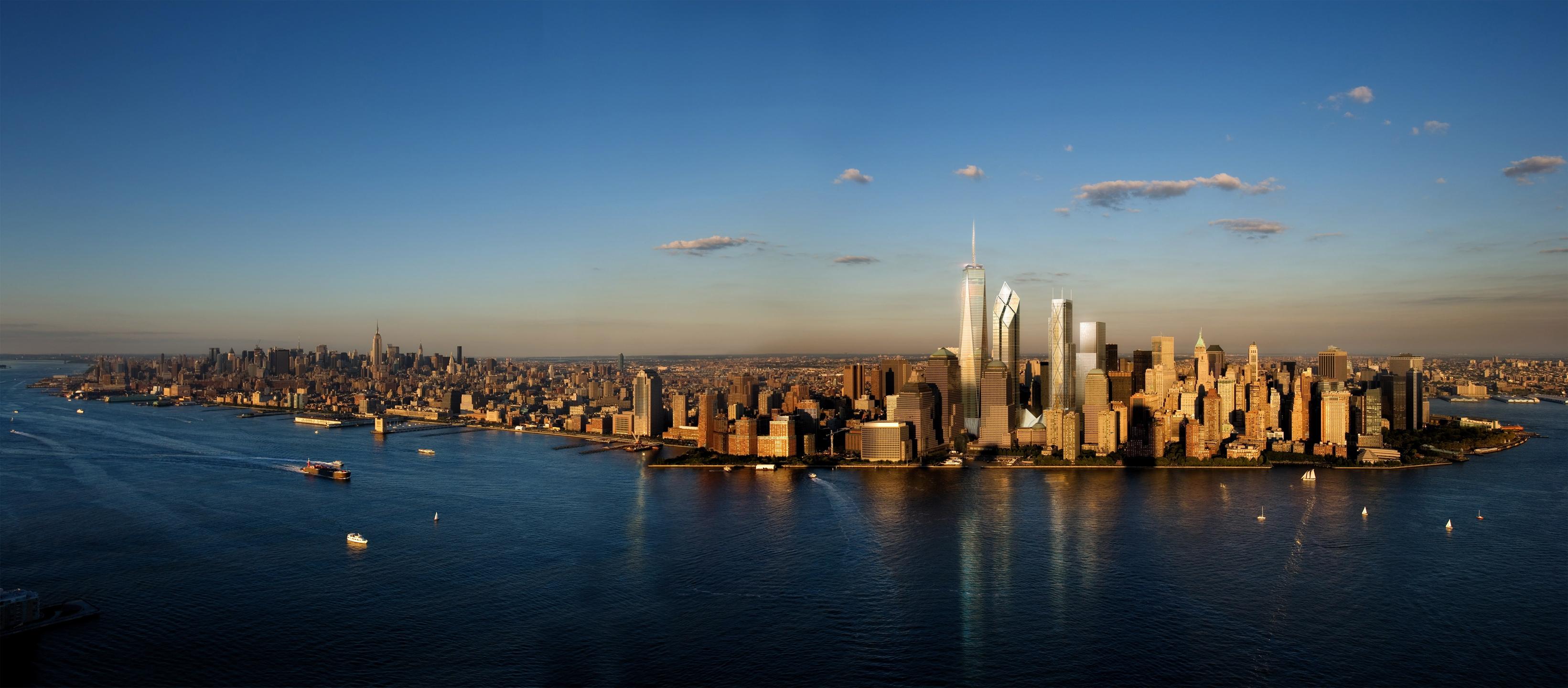 Dual Monitor New York Skyline Wallpaper 3282x1440