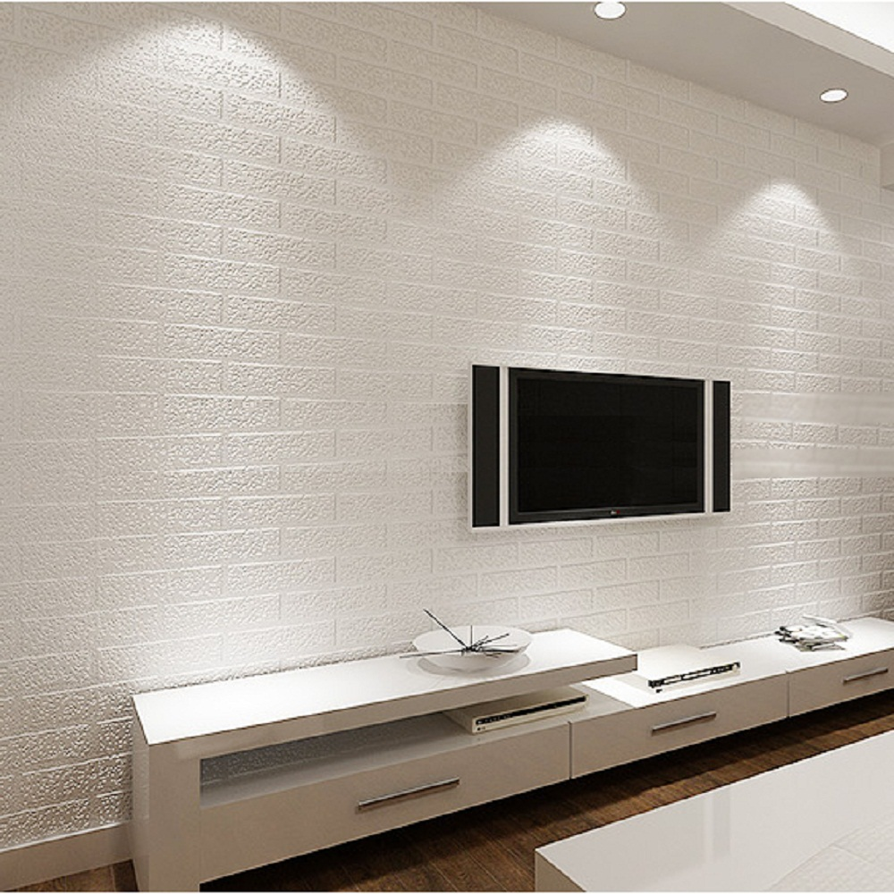 Pure White Brick Wallpaper 3D Wall Paper Brick Faux Exposed Brick 1000x1000