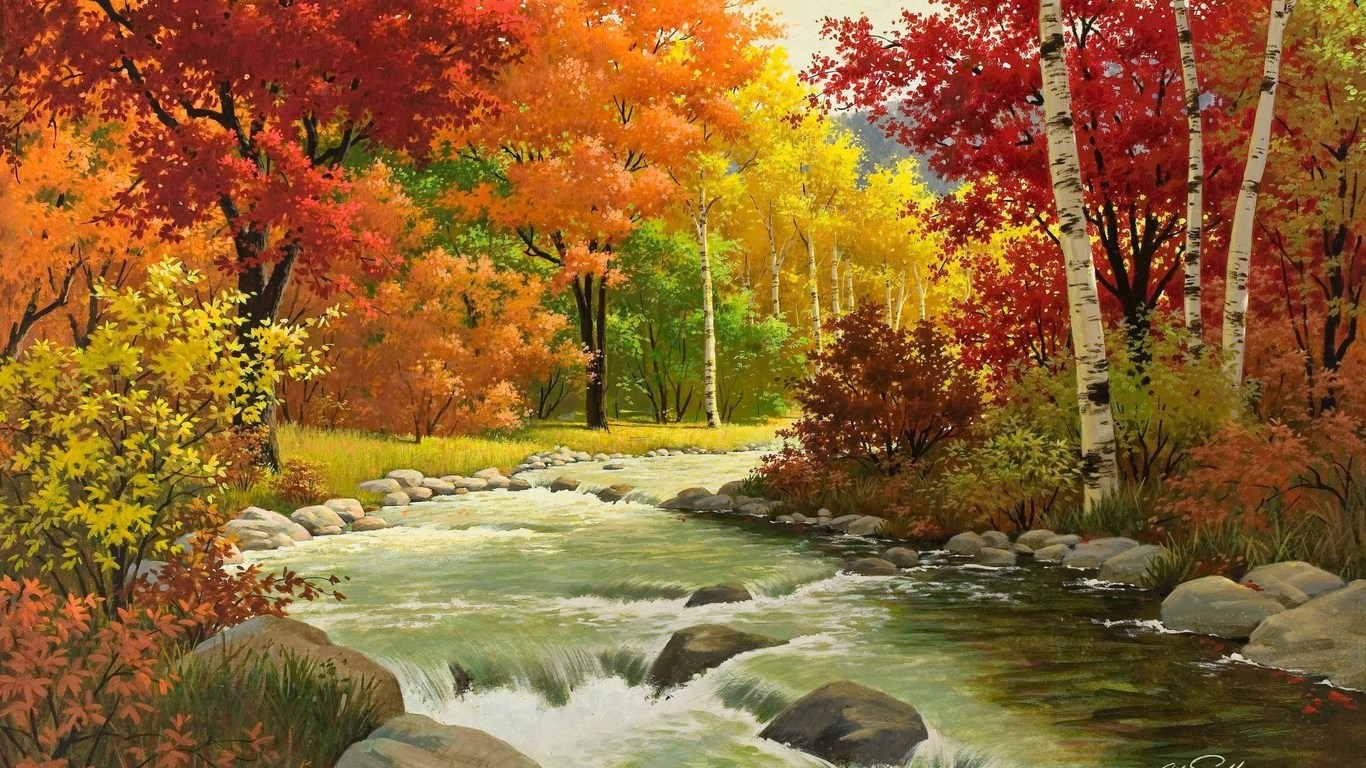 Beautiful Autumn Landscape Wallpaper Android 6742 Wallpaper computer 1366x768