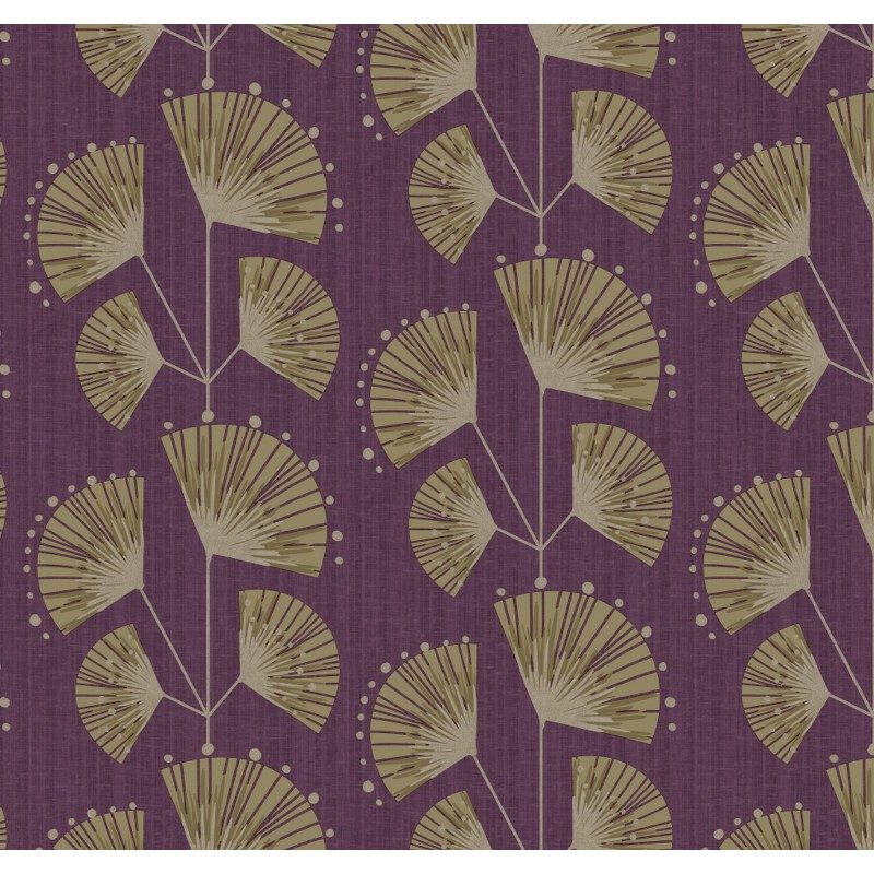 Pure Art Deco Floral Trail Purple Soft Taupe Gold Wallpaper by 800x800