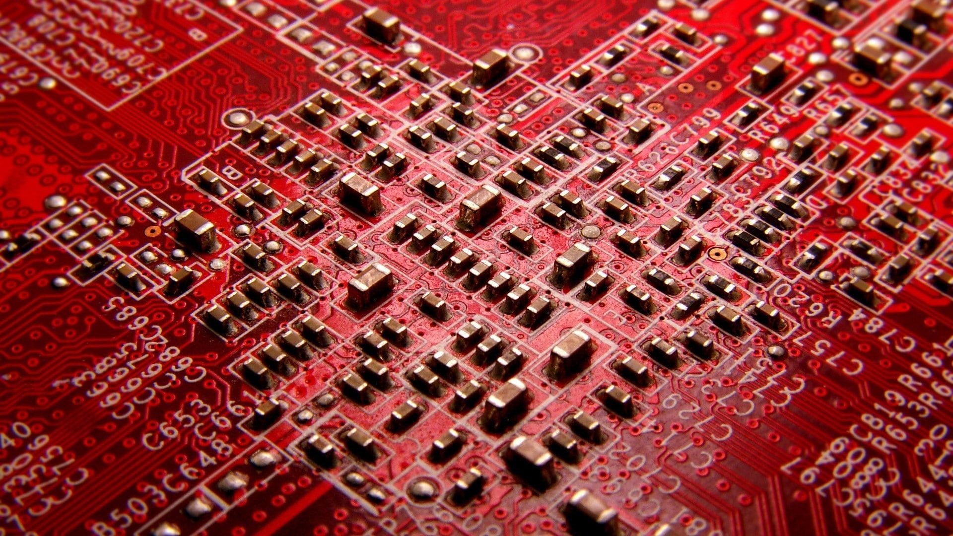 HD wallpaper red and black motherboard hardware circuit boards 1920x1080