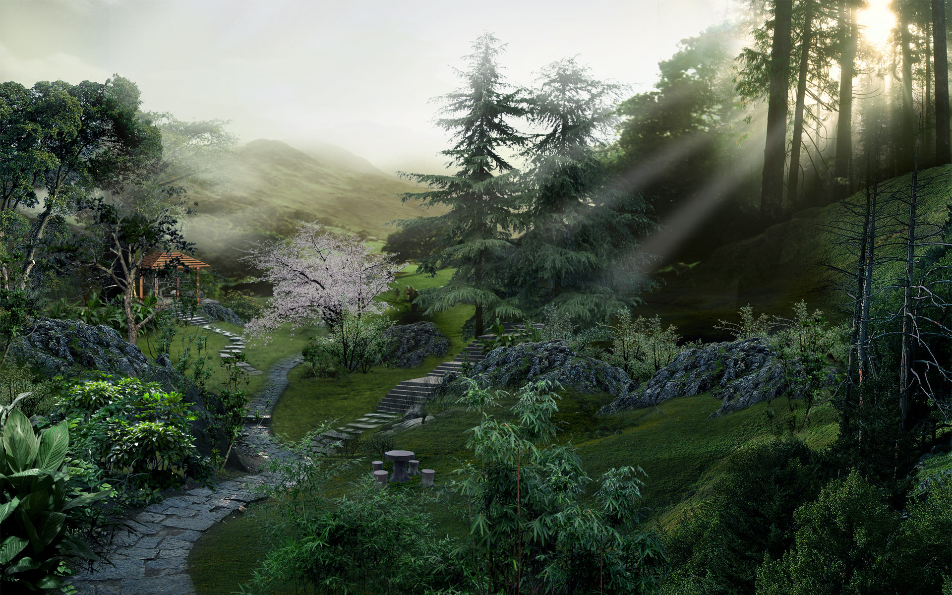 1920x1200 Chinese forest desktop PC and Mac wallpaper 1920x1200