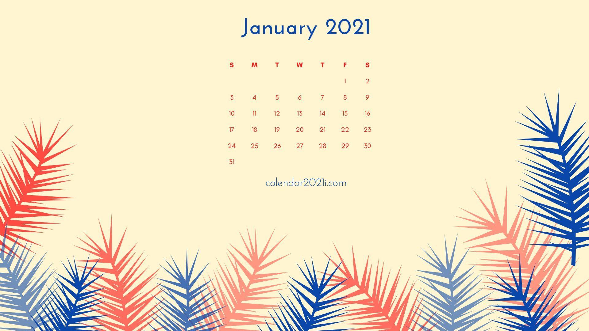 January 2021 Calendar Wallpaper Calendar wallpaper Printable 1920x1080