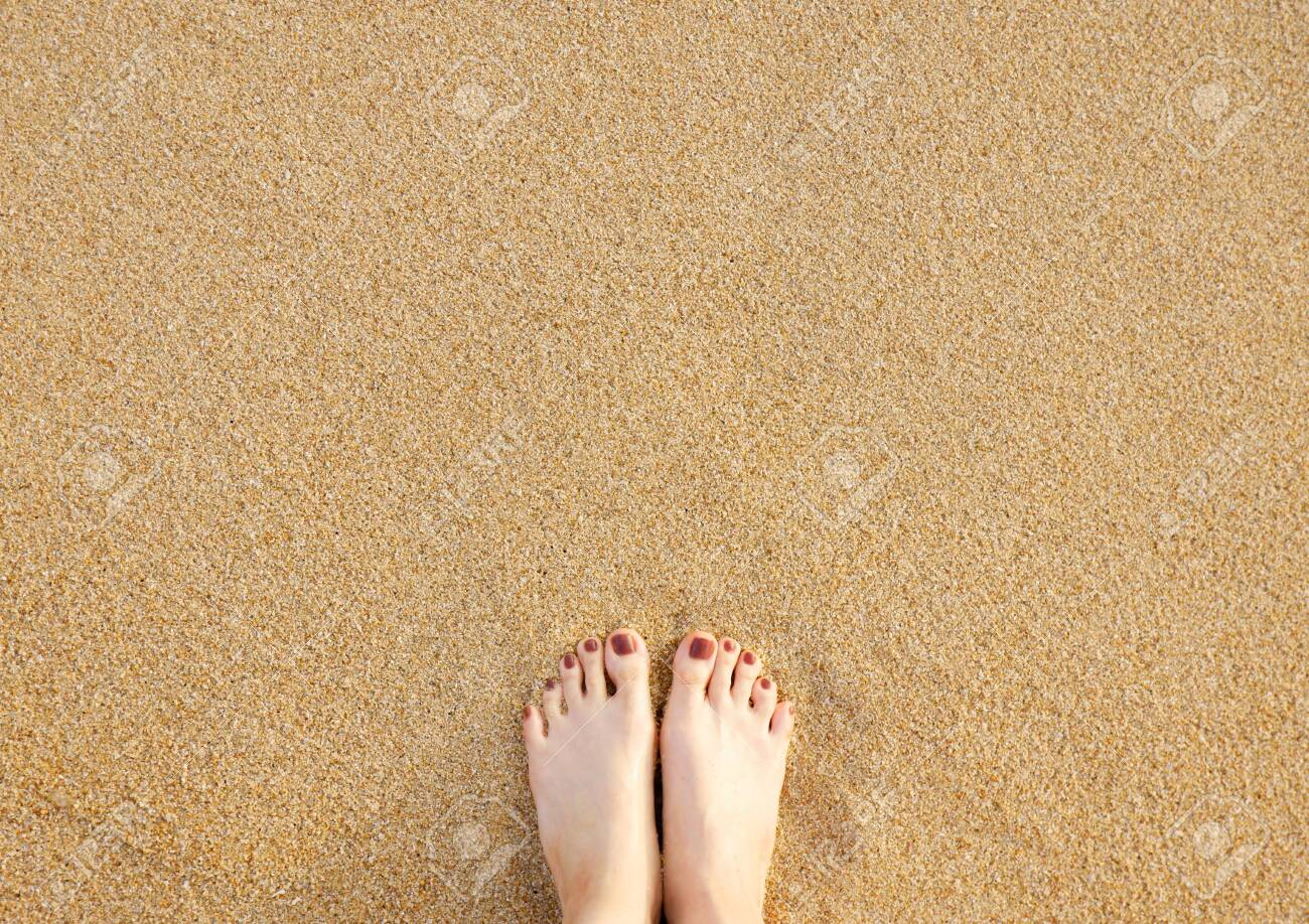 Feet On Sea Sand Beach Background Top View Closeup Of Barefoot 1300x918