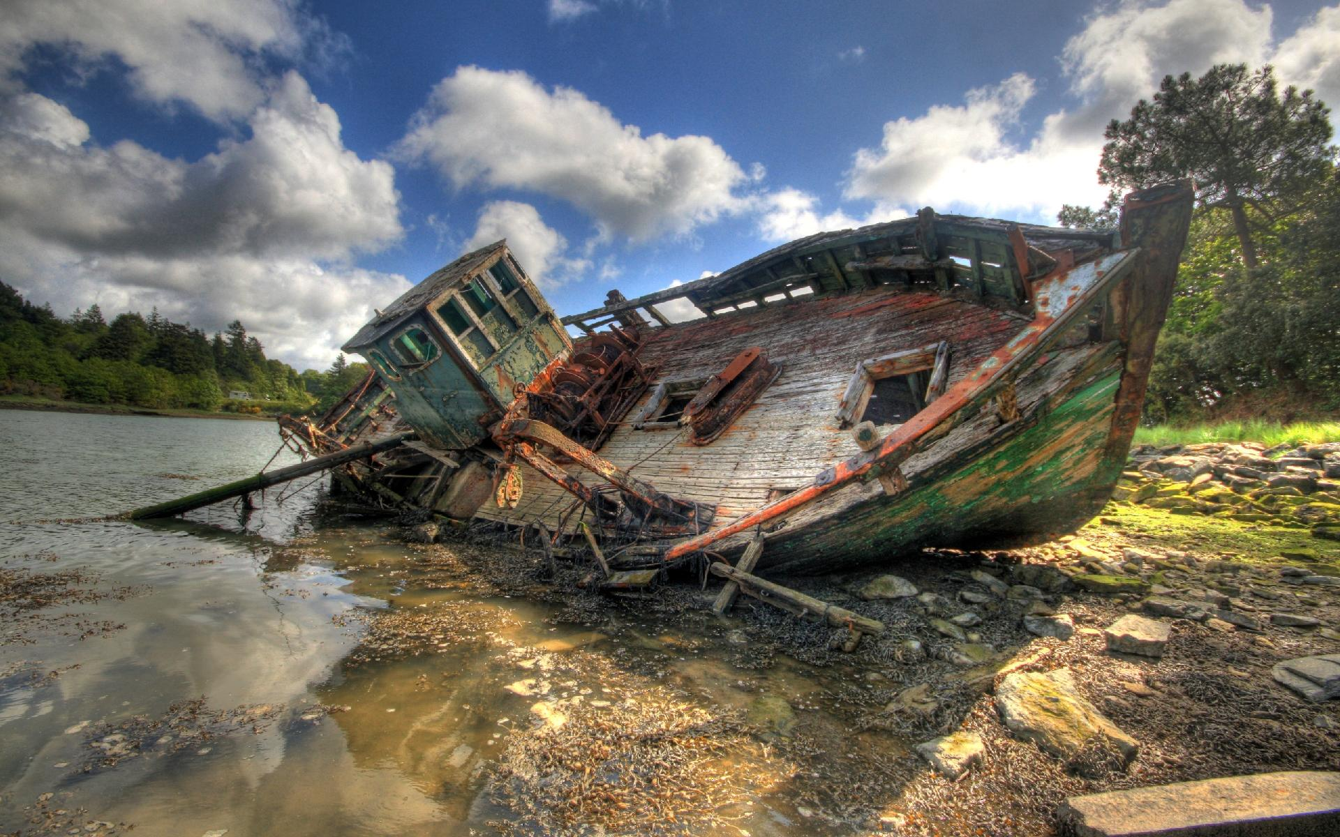 hdr ship wrech wallpaper 1920x1200