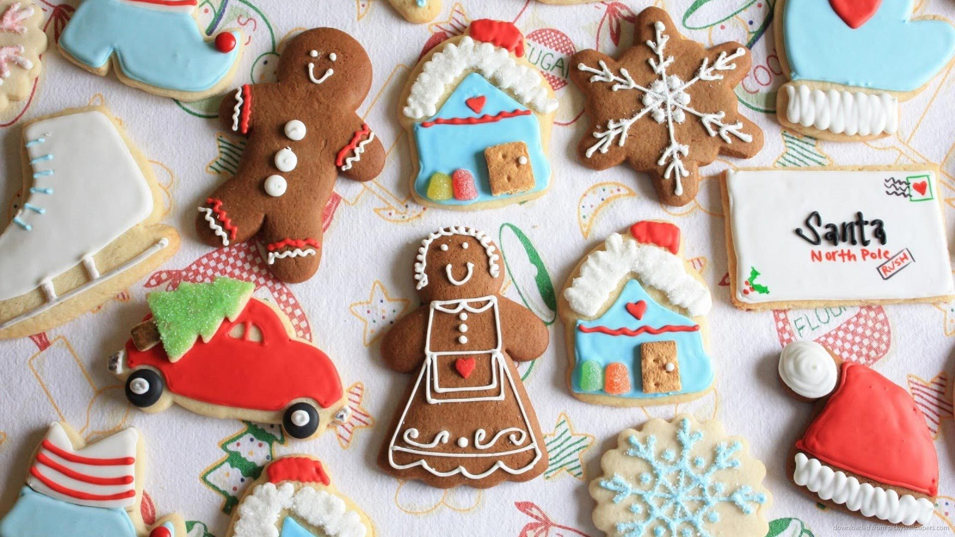 Cute Assorted Holiday Christmas Cookies Wallpaper Screensaver For 1920x1080