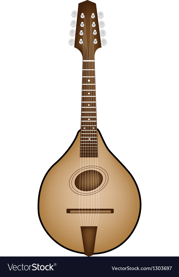 A Beautiful Antique Mandolin on White Background Vector Image 700x1080