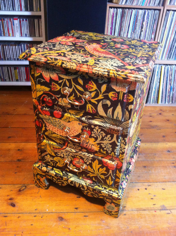 drawers decoupaged in William Morris wallpaper Strawberry Thief 597x800