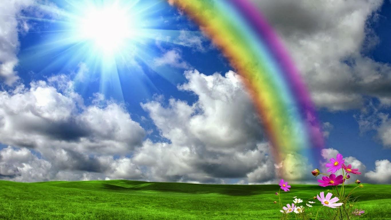 Beautiful rainbow wallpaper wallpapersafari beautiful rainbow shining sun nature hd wallpapers 1366x768 voltagebd Gallery