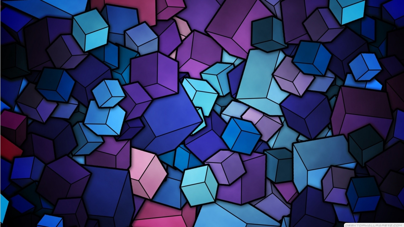 Purple Cubes Stained Glass Geometric Abstract Art 1366768 Wallpaper 1366x768