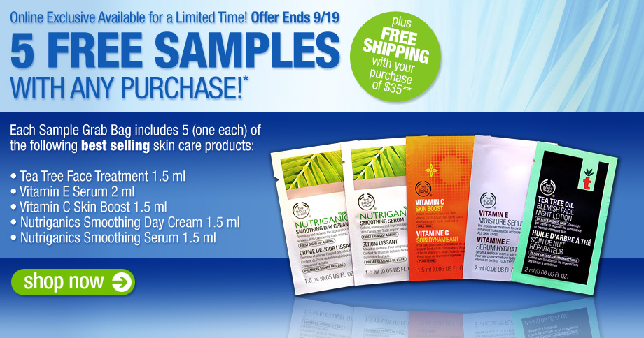 the 5 samples offer entitles online customers to receive tea tree 920x484