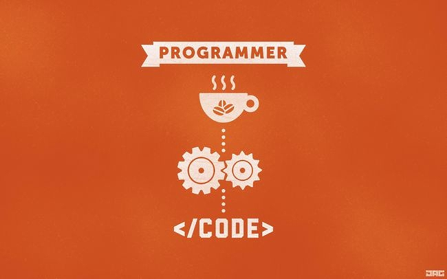 Programmer Orange Code Coffee Gears [The Paper Wall] 650x406