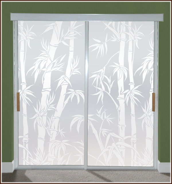 Tropical Etched Glass Privacy Film Big Bamboo Wallpaper For Windows 600x643