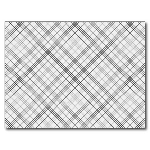 056 PLAID WHITE BLACK GREY GRAY PATTERN BACKGROUND POSTCARD Zazzle 512x512