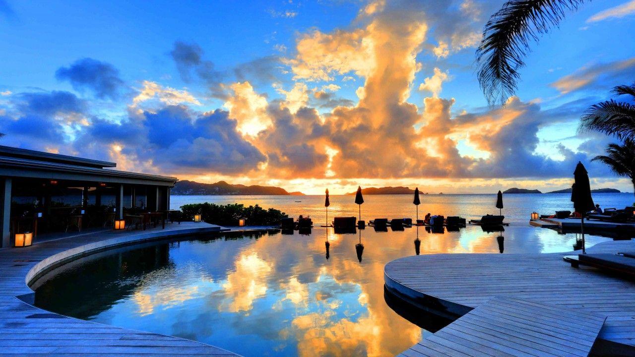 St Barth 5k 4k wallpaper 8k Hotel Christopher sunset pool 1280x720