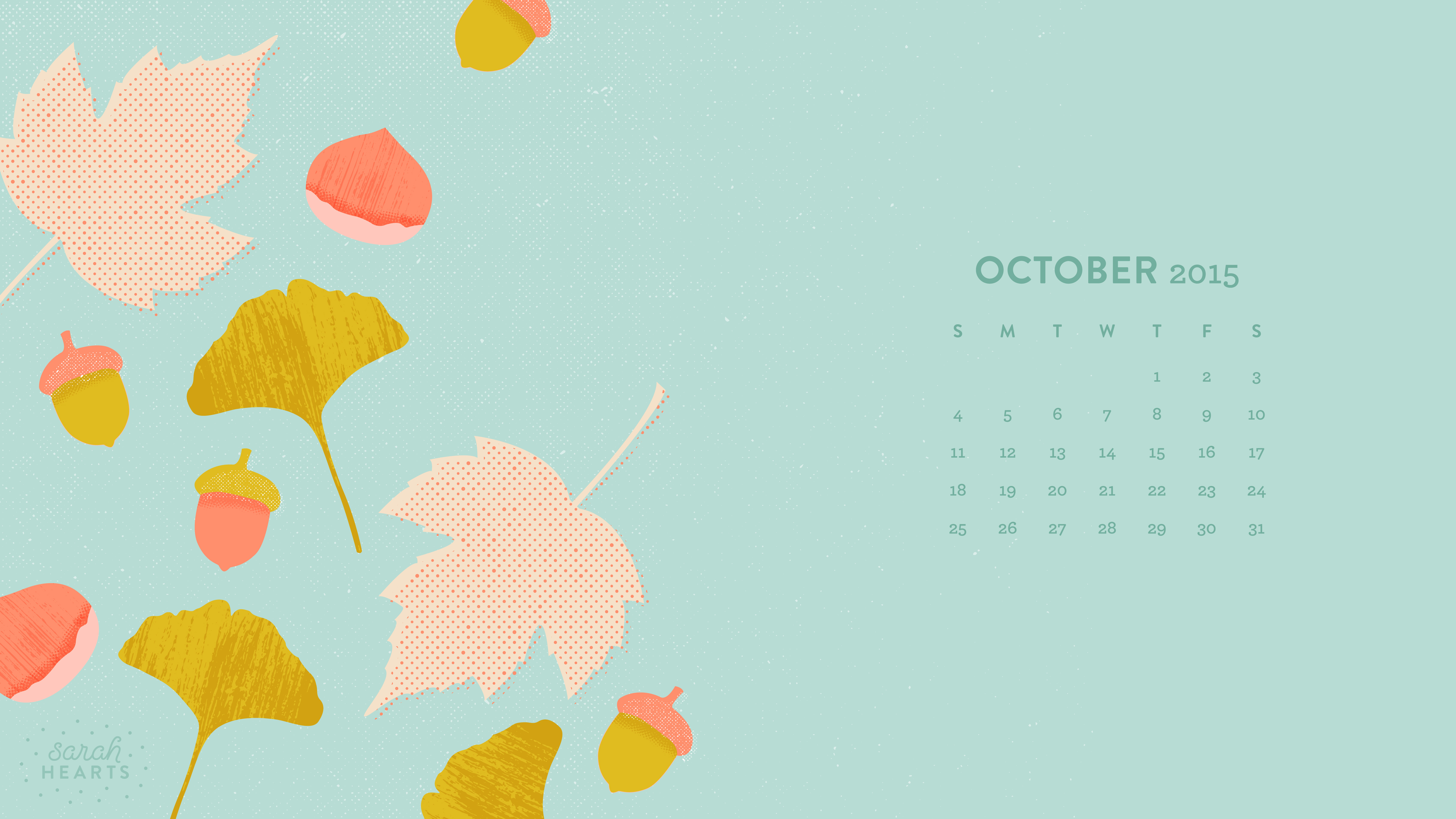October 2015 Calendar Wallpaper   Sarah Hearts 5333x3000