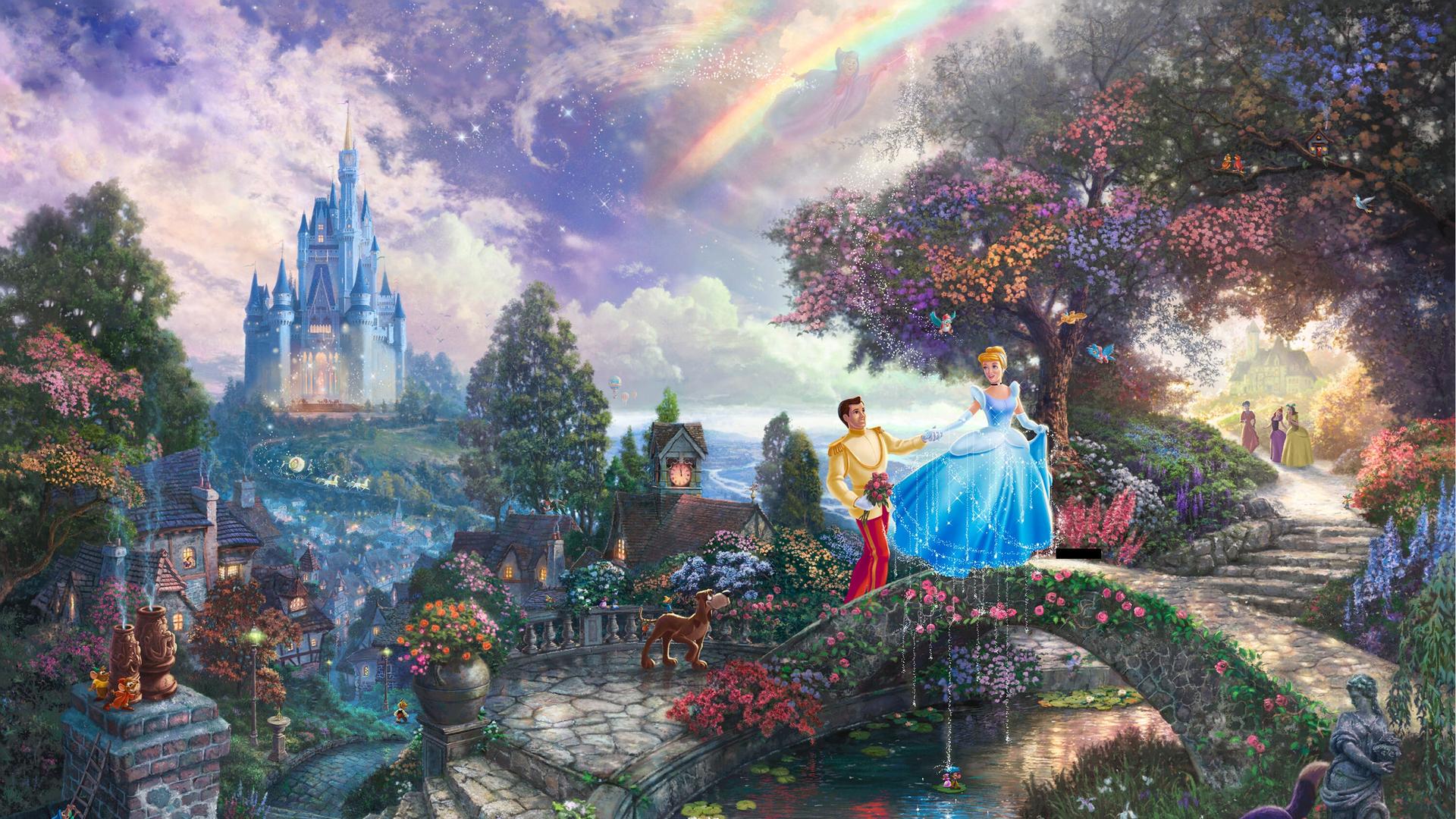 Thomas Kinkade Wallpaper painting Cinderella prince Disney castle 1920x1080