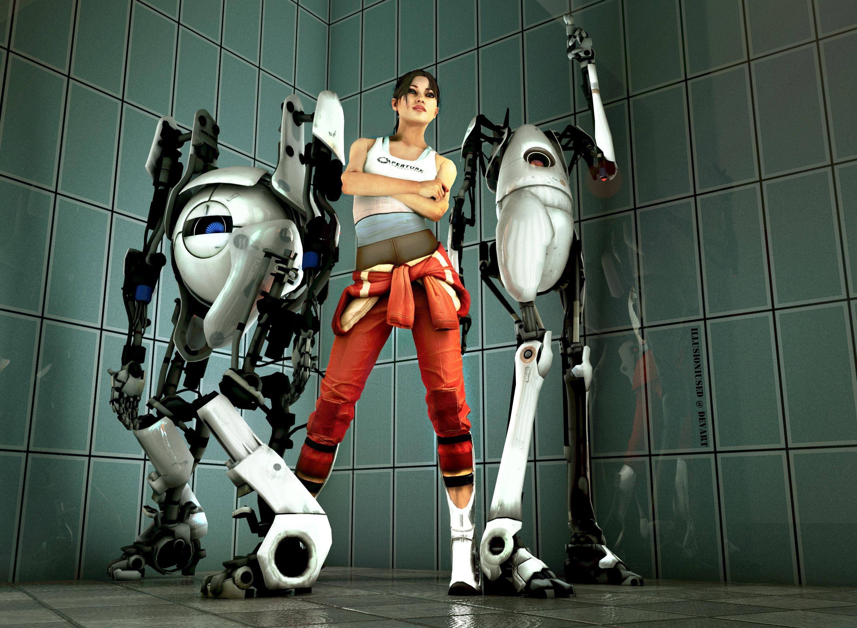 Portal 2 Robot Games Girls sci fi brunette wallpaper 3000x2200 3000x2200
