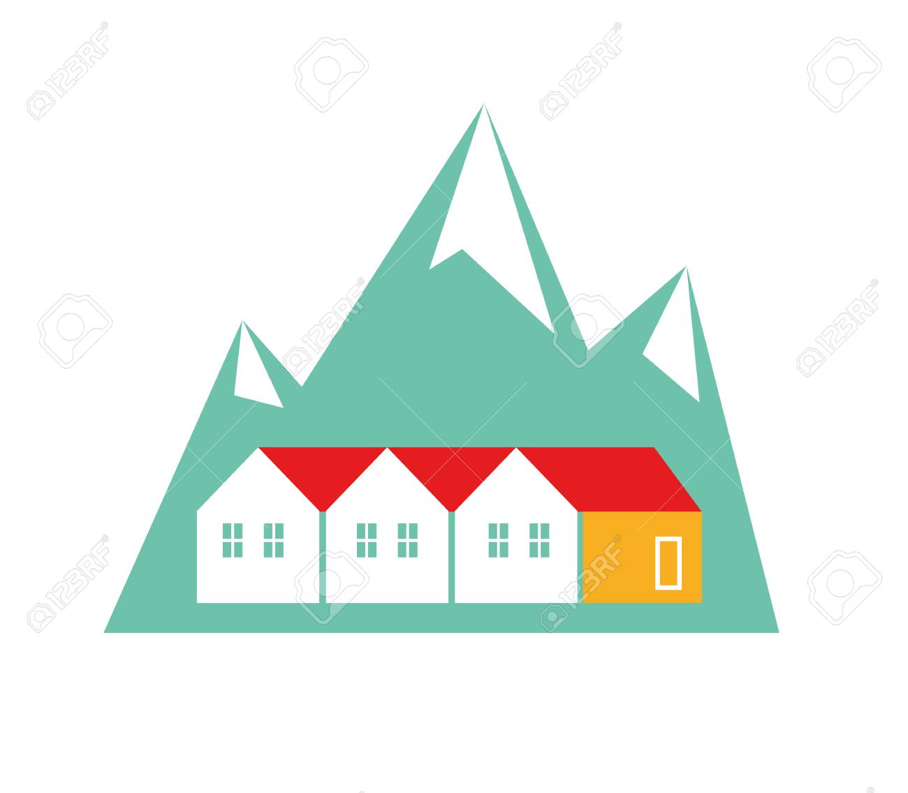 Norway Homes Flat Vector Illustration On White Background Royalty 1300x1135