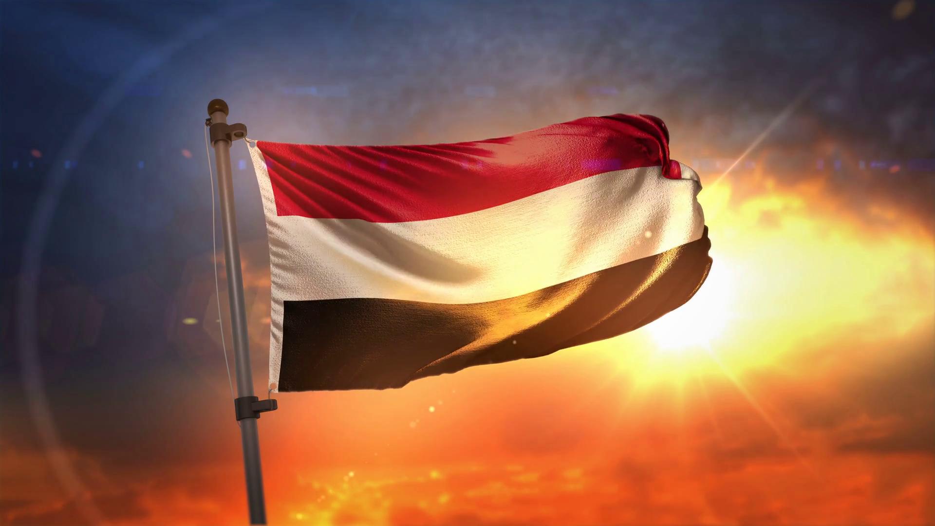 Yemen Flag Backlit At Beautiful Sunrise Loop Slow Motion 4K Motion 1920x1080