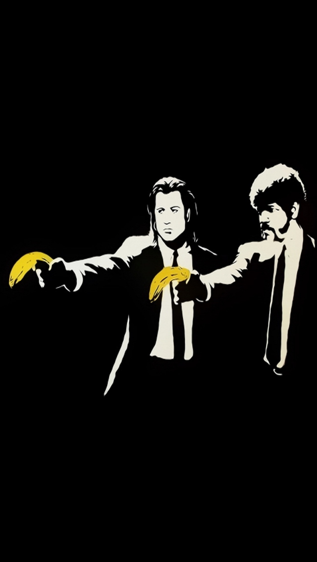 banksy pulp fiction iPhone 5 Wallpaper Background 640x1136 Photo 640x1136