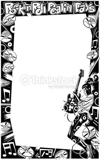 Vector Art Border girl with rock n roll items Rock n Roll Dealin 327x522