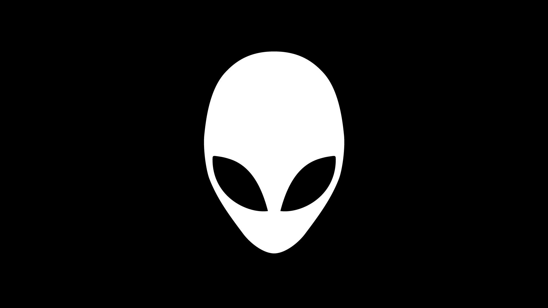 alienware simple logo black background hd 1920x1080 1080p wallpaper 1920x1080