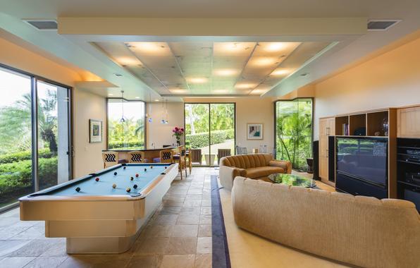 Wallpaper interior game room pool billiard bar sofa games room 596x380