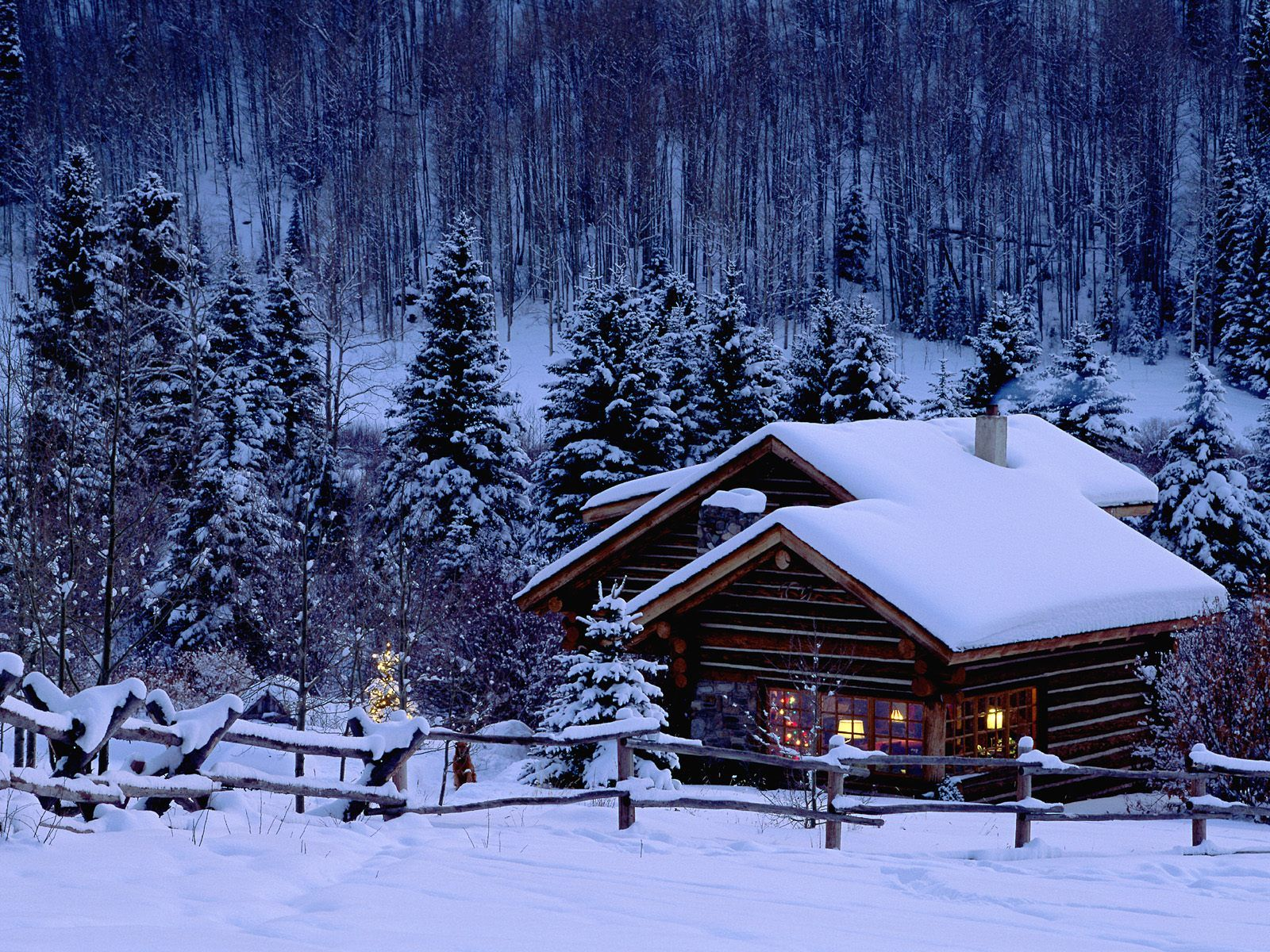 Winter Cabin Wallpaper Images   Picseriocom 1600x1200
