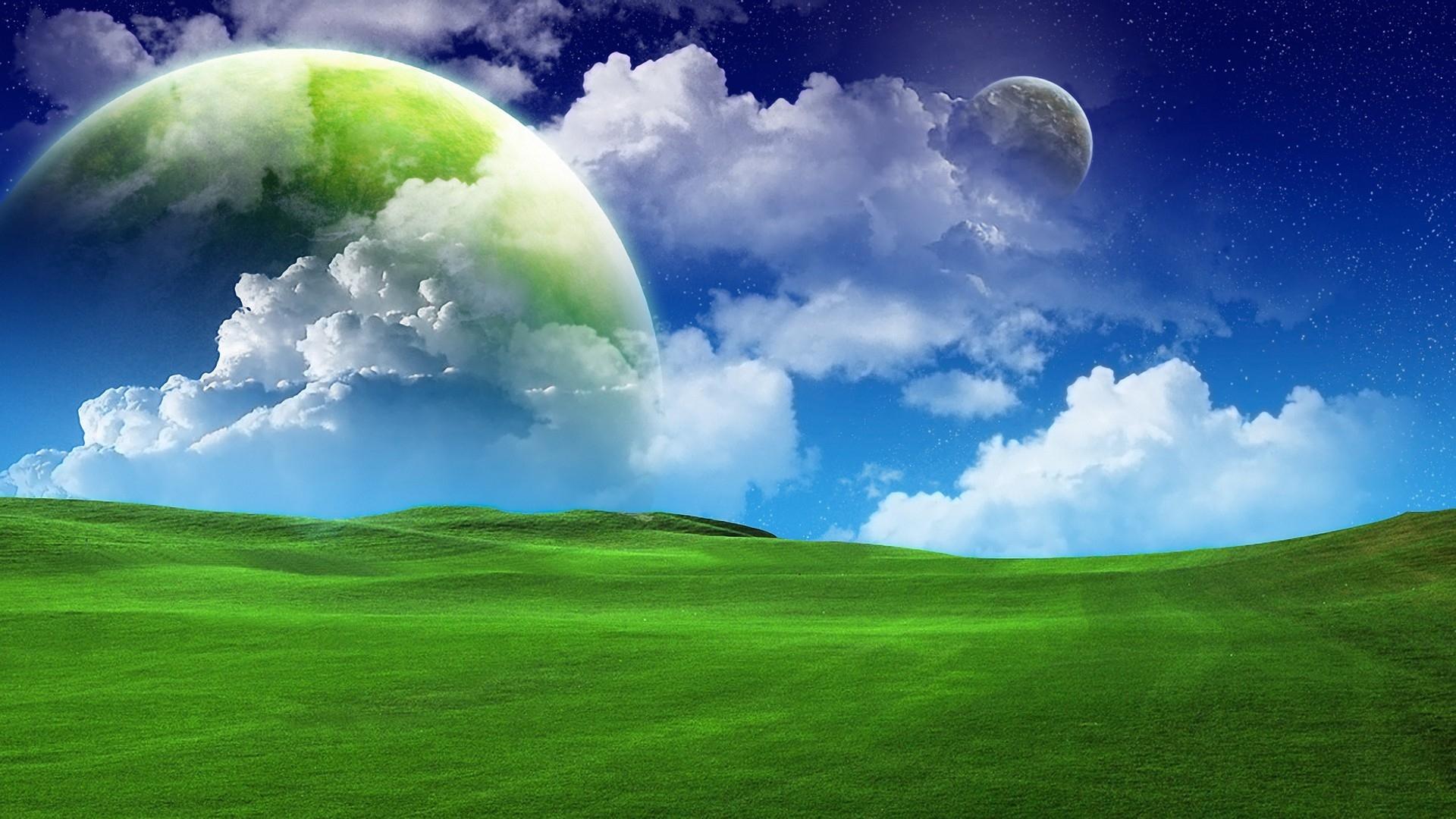 download Green Sky blue Clouds Summer Wallpaper Background 1920x1080