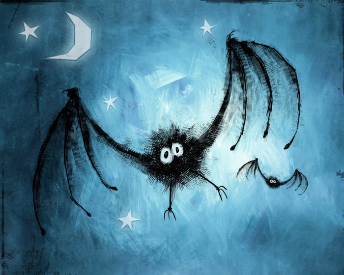 Bat bat blue fun moon star 700x560