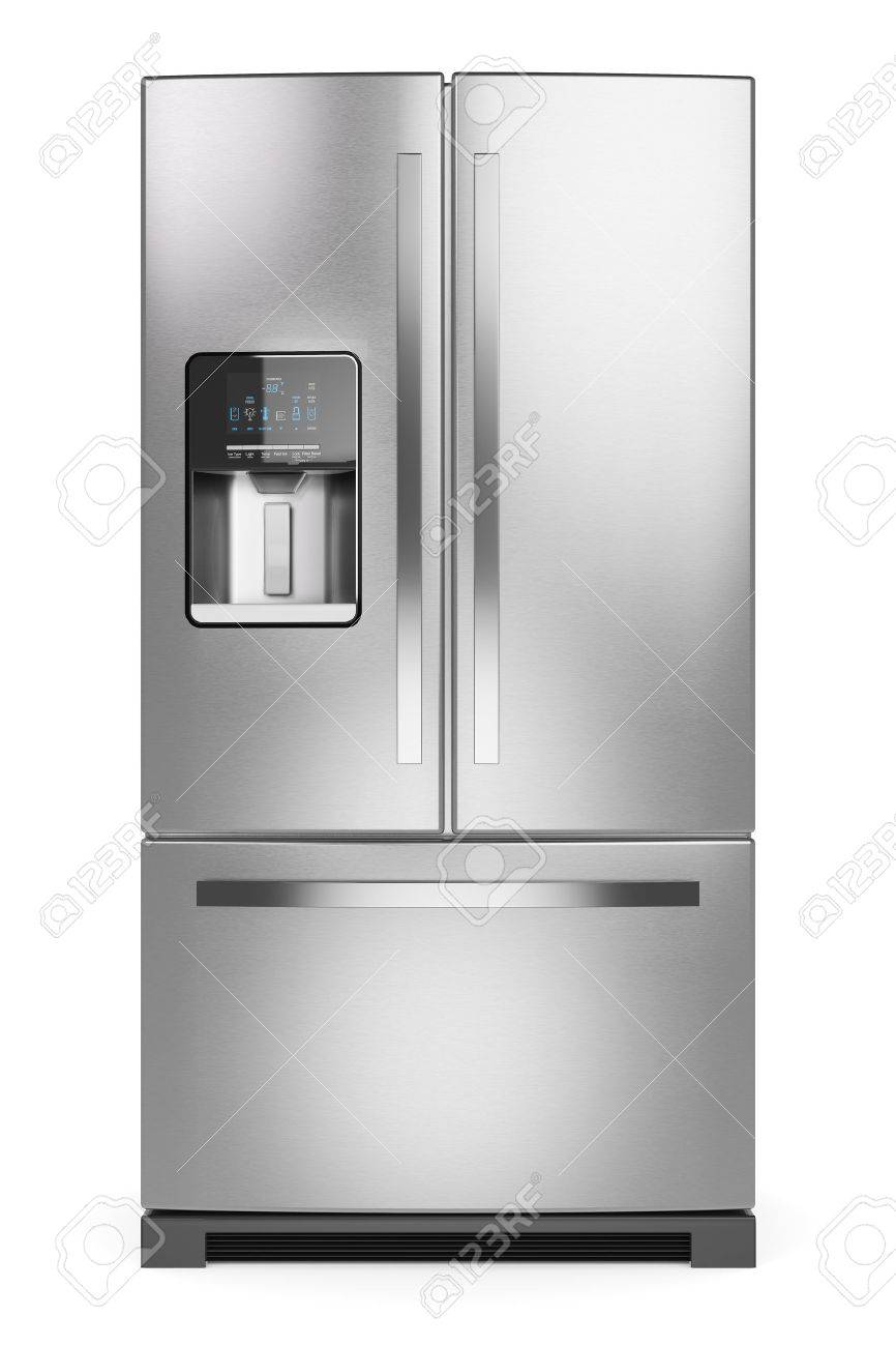 Home Refrigerator Silver Home Fridge Isolated On White Background 866x1300