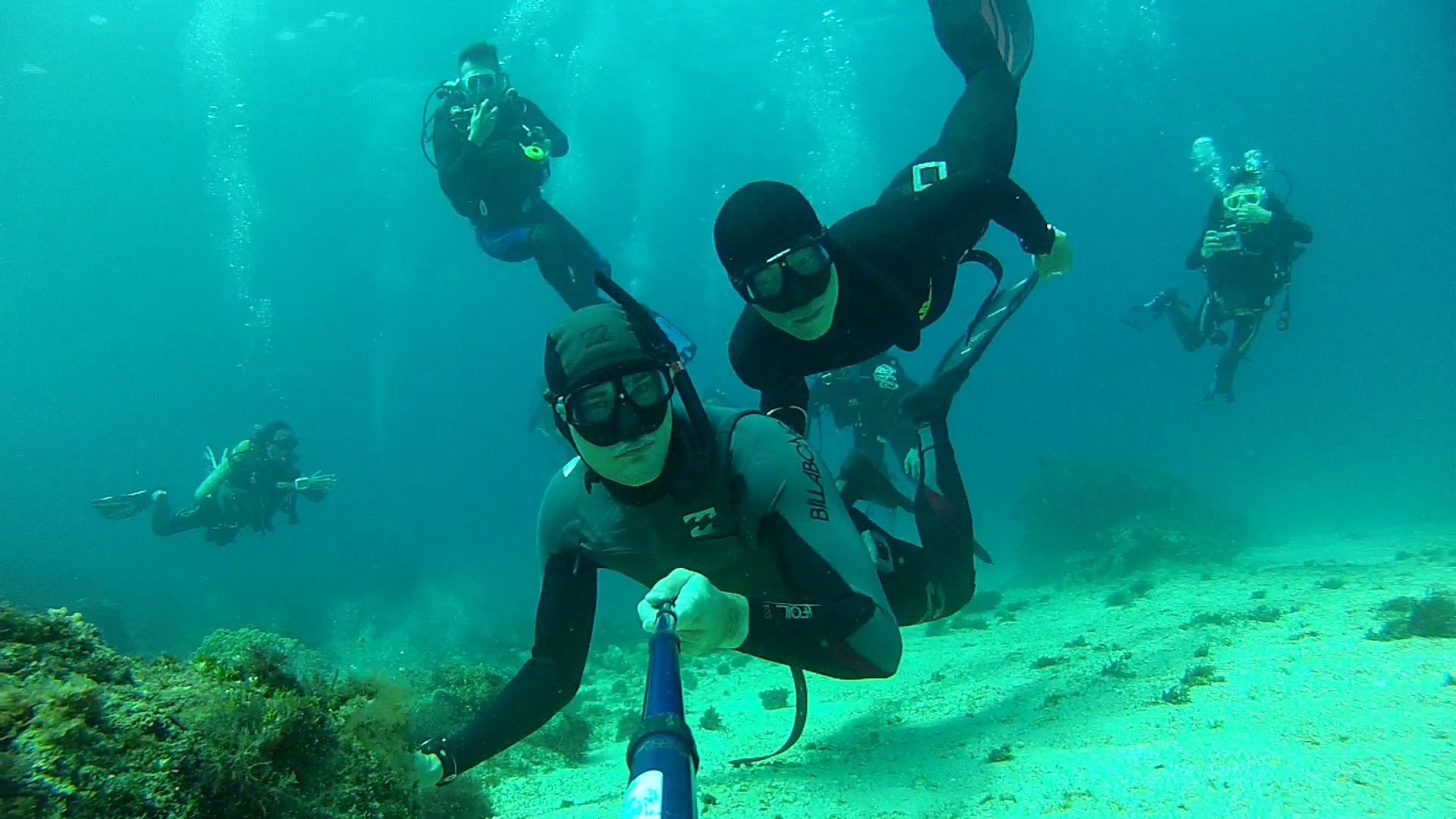Dean Fredericks his freediver buddy and a group of curious 1920x1080