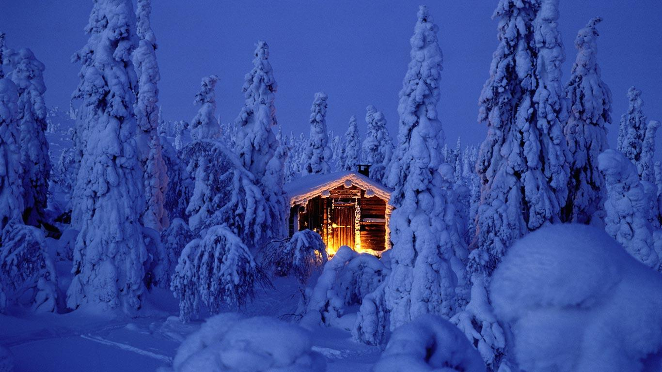 Snowy spruce forest with log cabin in Riisitunturi National Park 1366x768