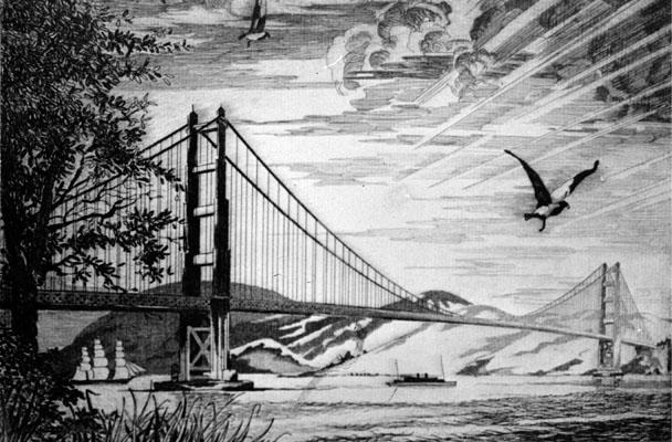 Golden Gate Bridge Etching by Blanding Sloan 608x400