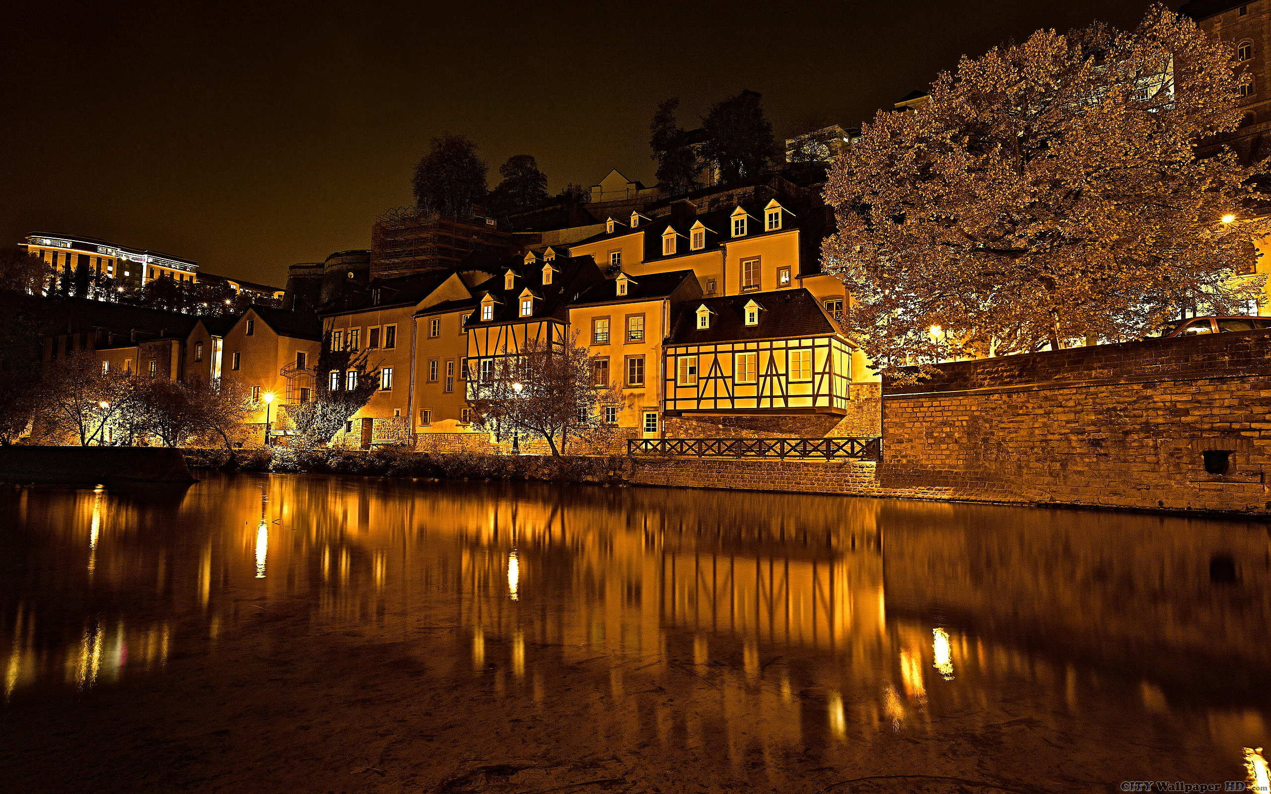 Luxembourg Night wallpaper Wide cities and countries for android 2560x1600