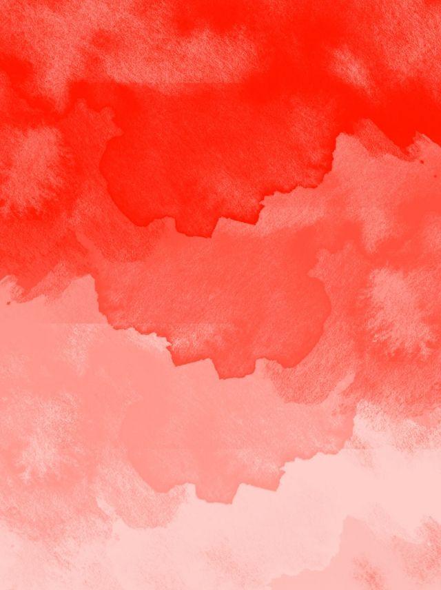Coral Red Minimalist Watercolor Splash Background Watercolour 640x856