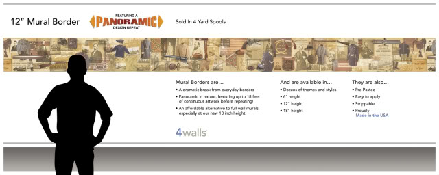 Details about Historic American Civil War Mural Style Wall Border 640x256