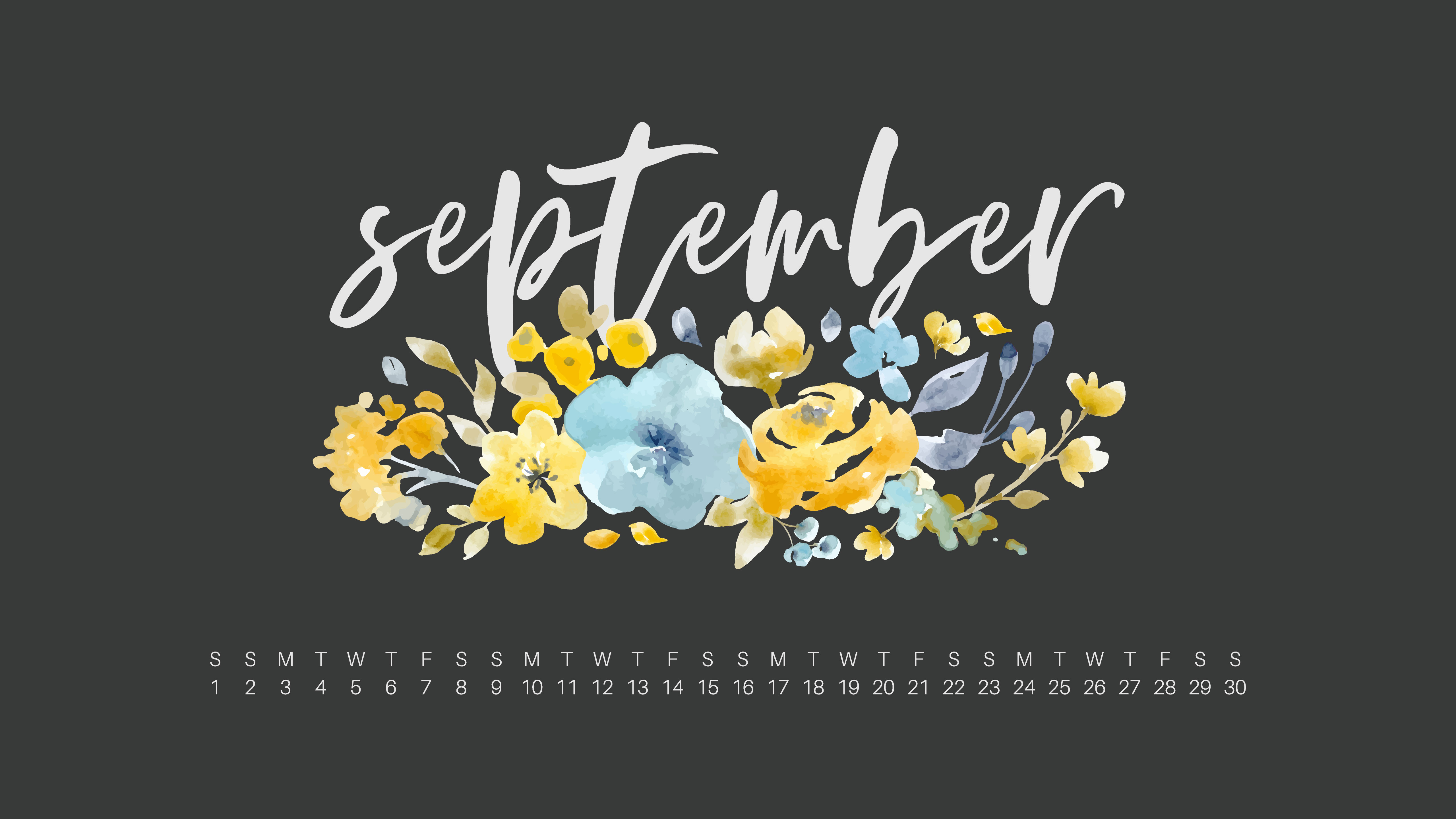 September 2018 Desktop Calendar Wallpaper UpperCase Designs 5120x2880
