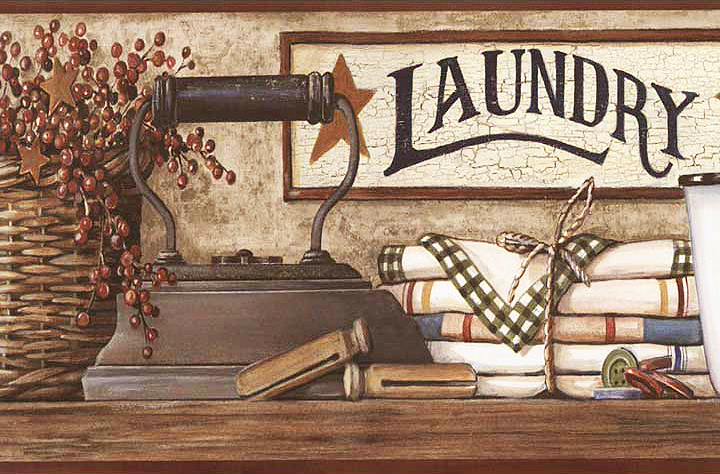 Country Laundry Shelf Wallpaper Border HK4633BD laundry room 720x474
