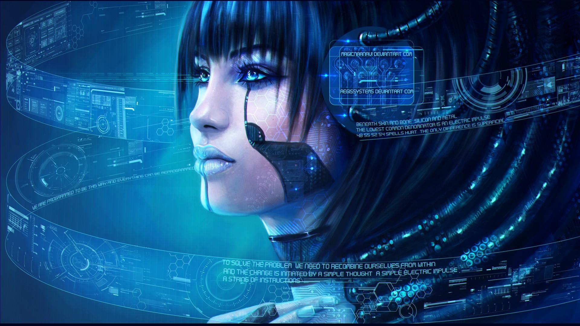 cyberpunk woman digital art hd wallpaper 1920x1080 3199 1920x1080